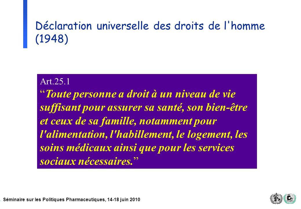 Séminaire sur les Politiques Pharmaceutiques, 14-18 juin 2010 Déclaration universelle des droits de l'homme (1948) Art.25.1 Toute personne a droit à u