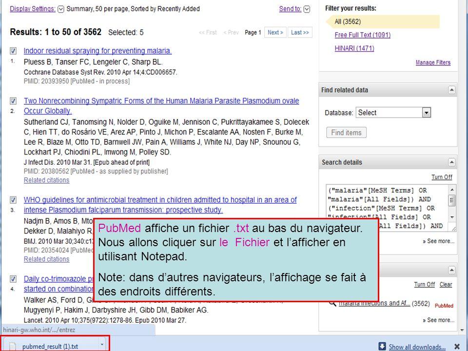 PubMed affiche un fichier.txt au bas du navigateur.