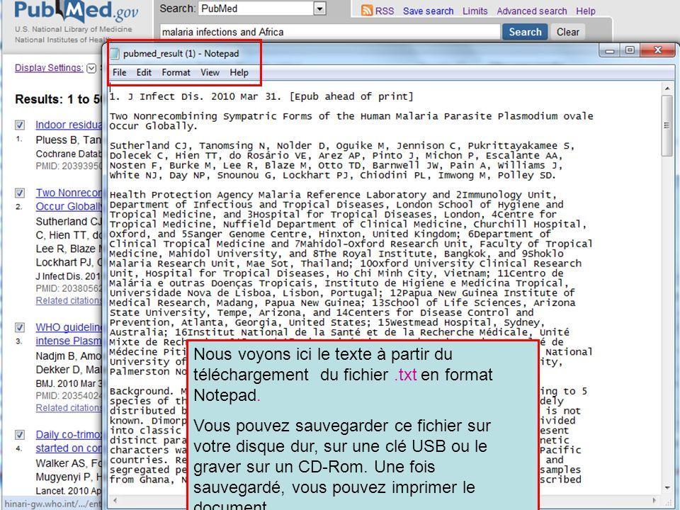 Nous voyons ici le texte à partir du téléchargement du fichier.txt en format Notepad.