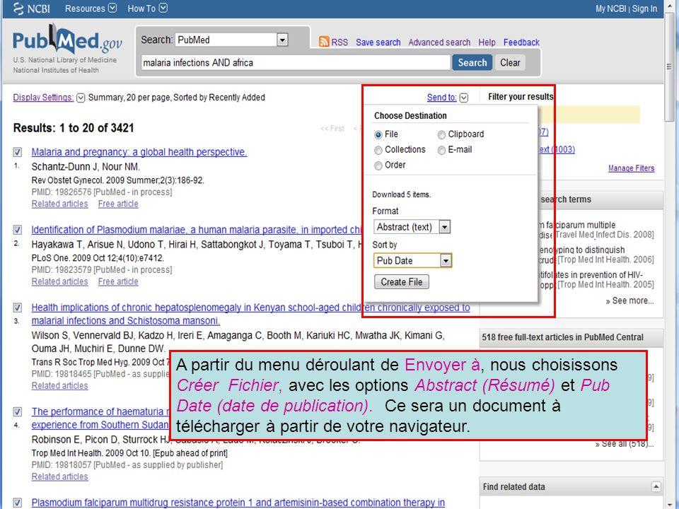 A partir du menu déroulant de Envoyer à, nous choisissons Créer Fichier, avec les options Abstract (Résumé) et Pub Date (date de publication).