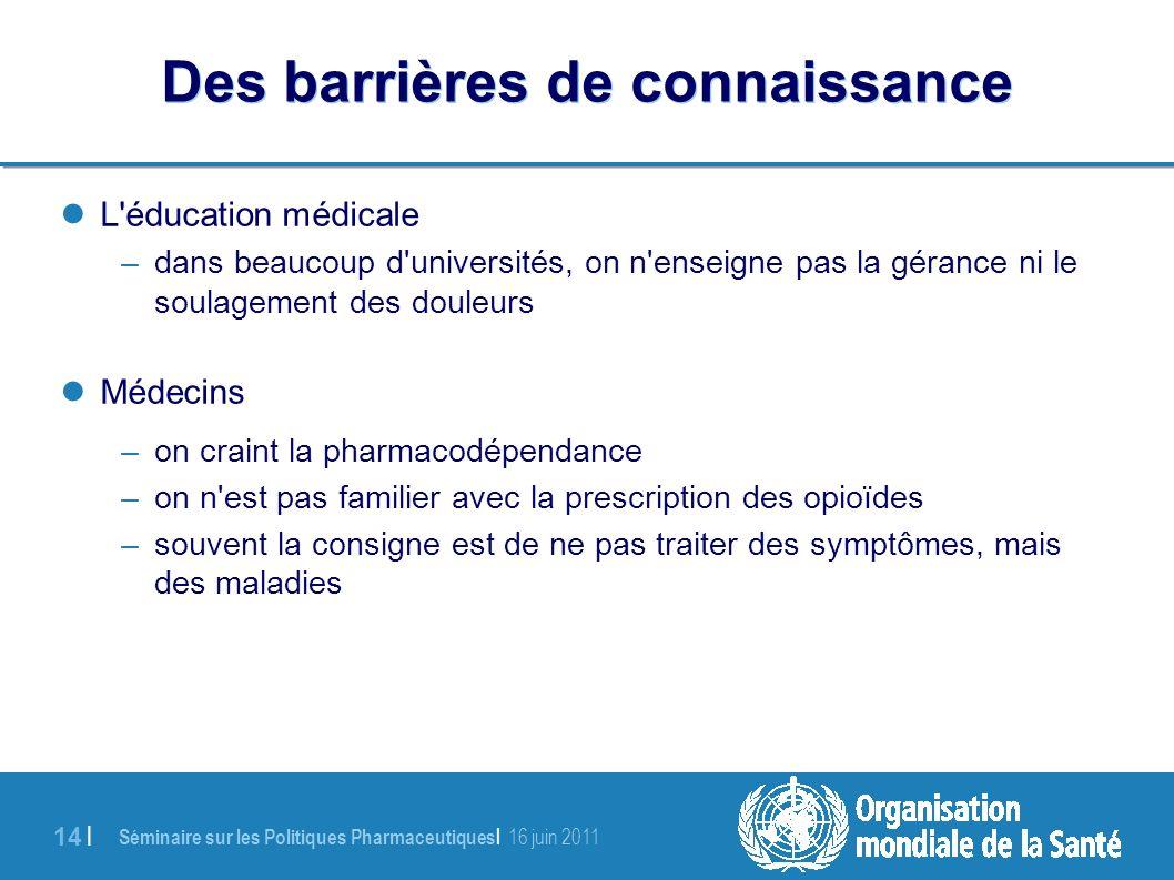 Séminaire sur les Politiques Pharmaceutiques | 16 juin 2011 14 | Des barrières de connaissance L éducation médicale –dans beaucoup d universités, on n enseigne pas la gérance ni le soulagement des douleurs Médecins –on craint la pharmacodépendance –on n est pas familier avec la prescription des opioïdes –souvent la consigne est de ne pas traiter des symptômes, mais des maladies