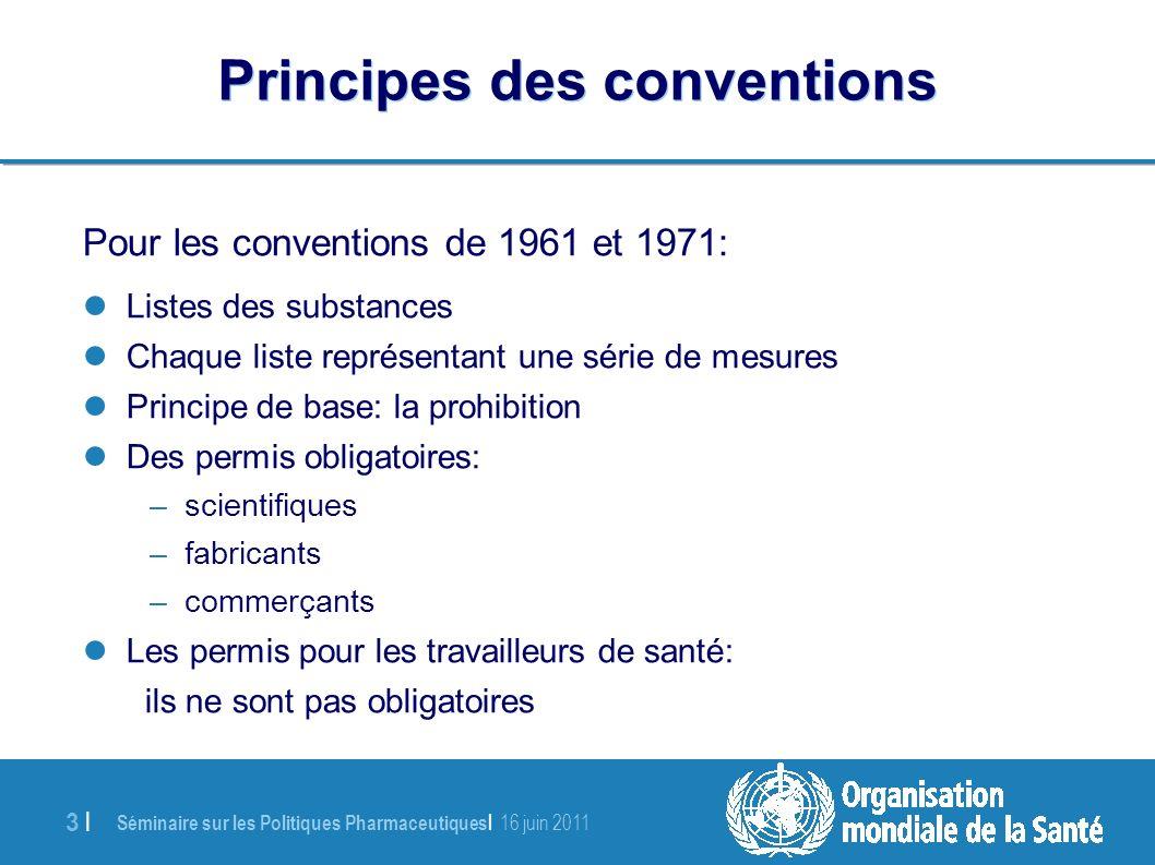 Séminaire sur les Politiques Pharmaceutiques   16 juin 2011 24   Directives politiques de l OMS (1) –En ligne: gratuit (14 langues) http://www.who.int/medicines/areas/quality _safety/guide_nocp_sanend/en/index.html –Version imprimée: US$ 25.–(US$ 17.50 pour les pays en voie de développement) Assurer l équilibre dans les politiques nationales relatives aux substances sous contrôle, Orientation pour la disponibilité et l accessibilité des médicaments sous contrôle (Genève 2011)