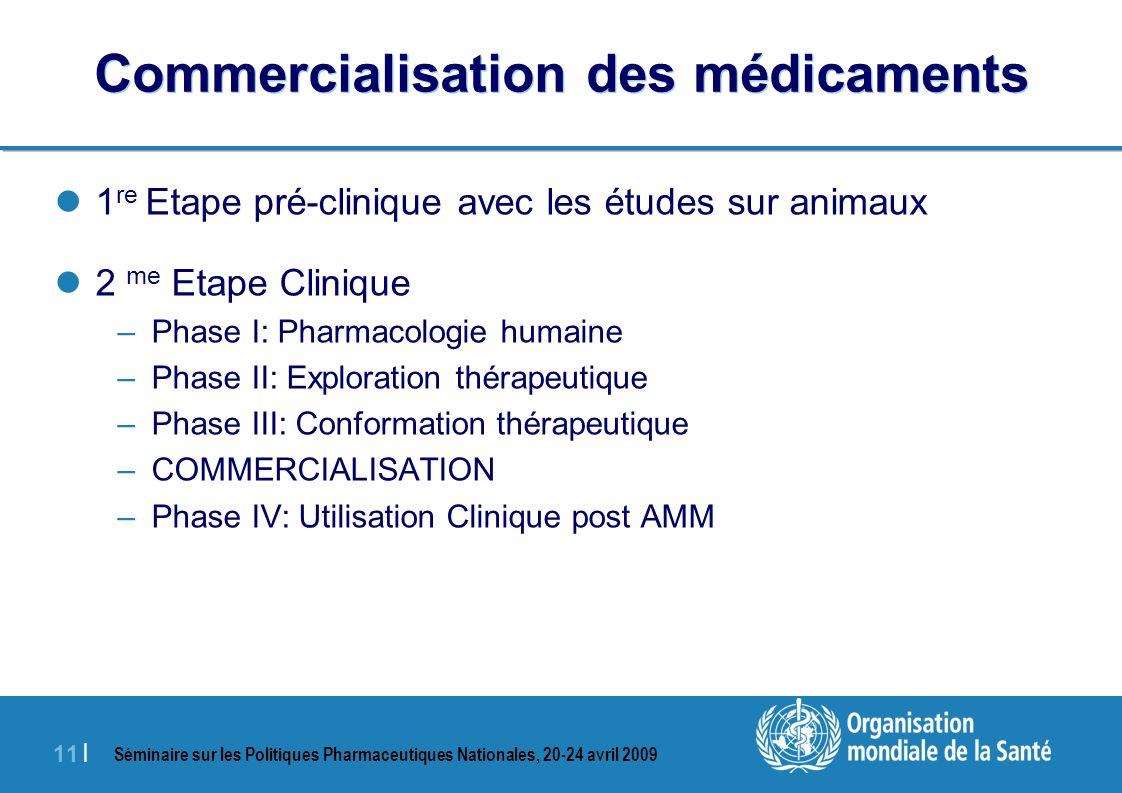 Séminaire sur les Politiques Pharmaceutiques Nationales, 20-24 avril 2009 11 | Commercialisation des médicaments 1 re Etape pré-clinique avec les étud