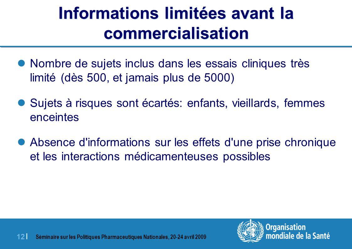 Séminaire sur les Politiques Pharmaceutiques Nationales, 20-24 avril 2009 12 | Informations limitées avant la commercialisation Nombre de sujets inclu