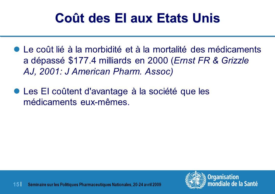Séminaire sur les Politiques Pharmaceutiques Nationales, 20-24 avril 2009 15 | Coût des EI aux Etats Unis Le coût lié à la morbidité et à la mortalité