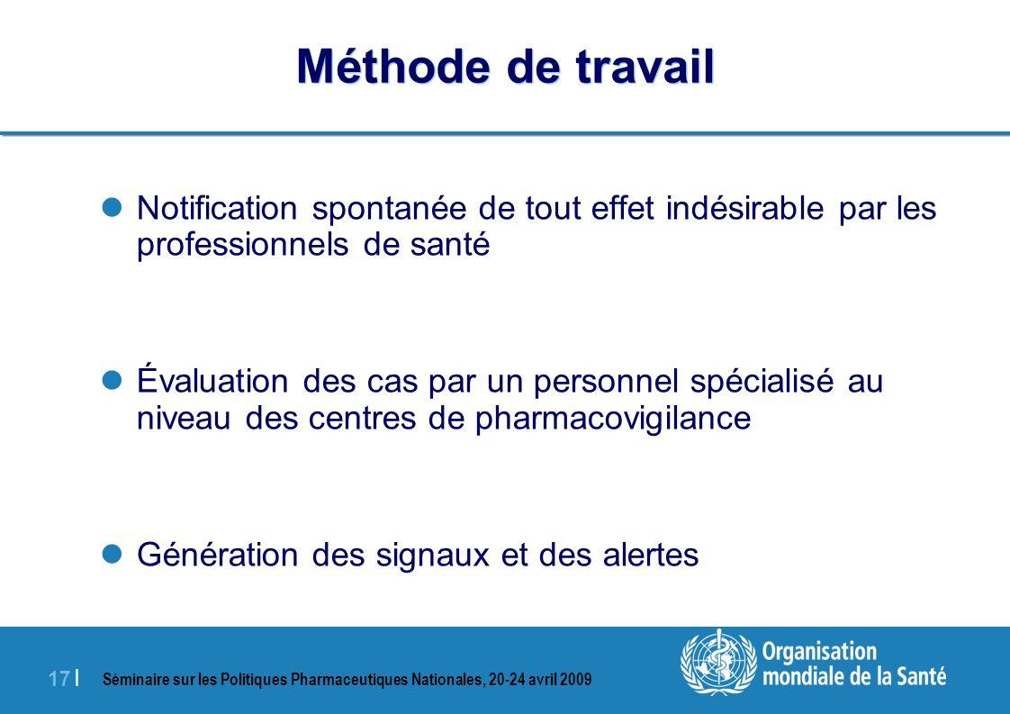 Séminaire sur les Politiques Pharmaceutiques Nationales, 20-24 avril 2009 17 | Méthode de travail Notification spontanée de tout effet indésirable par