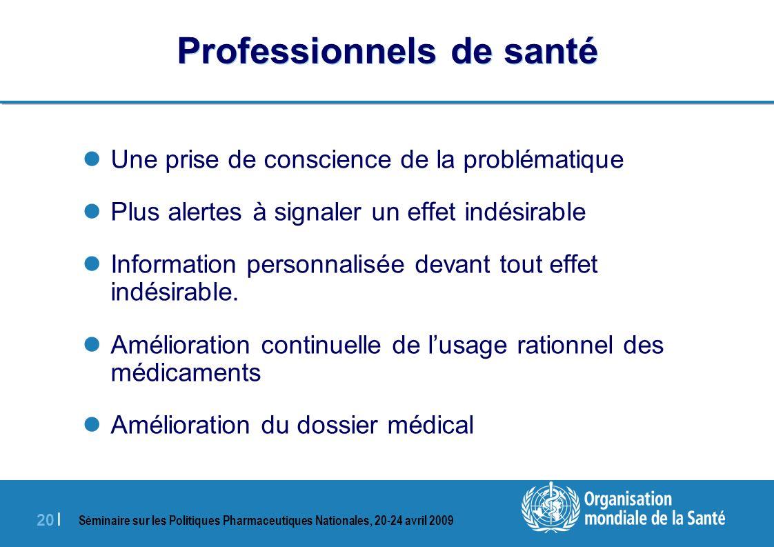 Séminaire sur les Politiques Pharmaceutiques Nationales, 20-24 avril 2009 20 | Professionnels de santé Une prise de conscience de la problématique Plu