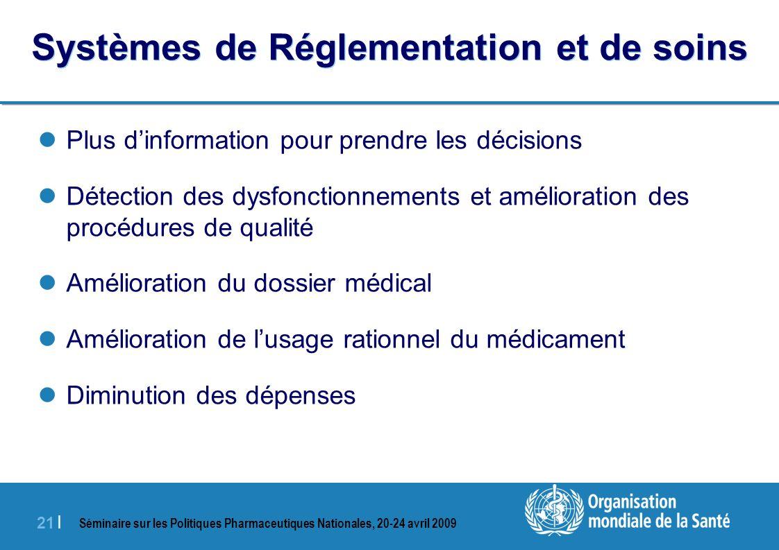 Séminaire sur les Politiques Pharmaceutiques Nationales, 20-24 avril 2009 21 | Systèmes de Réglementation et de soins Plus dinformation pour prendre l