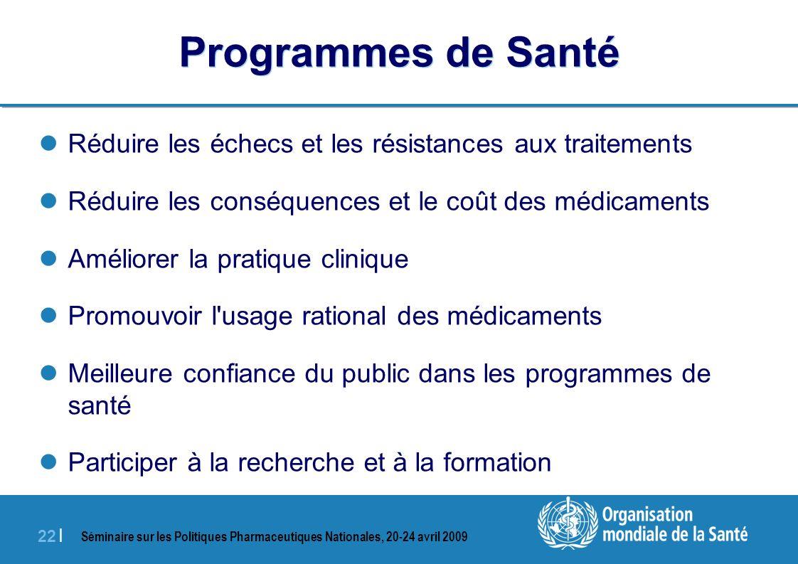 Séminaire sur les Politiques Pharmaceutiques Nationales, 20-24 avril 2009 22 | Programmes de Santé Réduire les échecs et les résistances aux traitemen