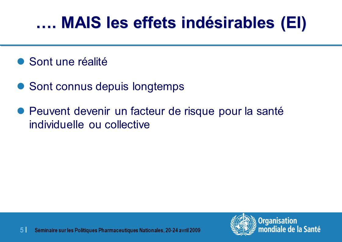 Séminaire sur les Politiques Pharmaceutiques Nationales, 20-24 avril 2009 5 |5 | …. MAIS les effets indésirables (EI) Sont une réalité Sont connus dep