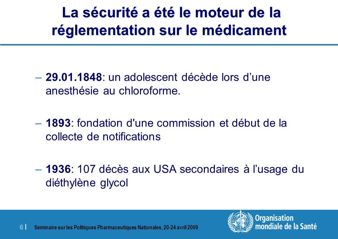 Séminaire sur les Politiques Pharmaceutiques Nationales, 20-24 avril 2009 6 |6 | La sécurité a été le moteur de la réglementation sur le médicament –2
