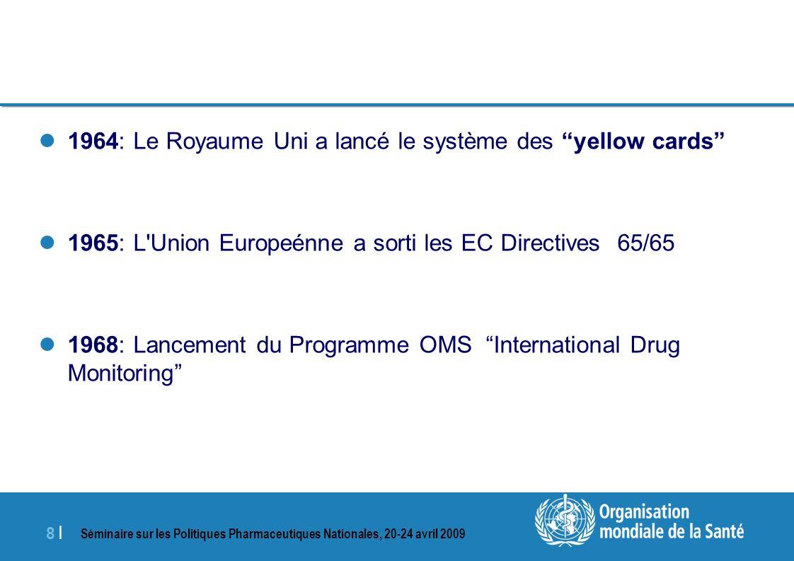 Séminaire sur les Politiques Pharmaceutiques Nationales, 20-24 avril 2009 8 |8 | 1964: Le Royaume Uni a lancé le système des yellow cards 1965: L'Unio