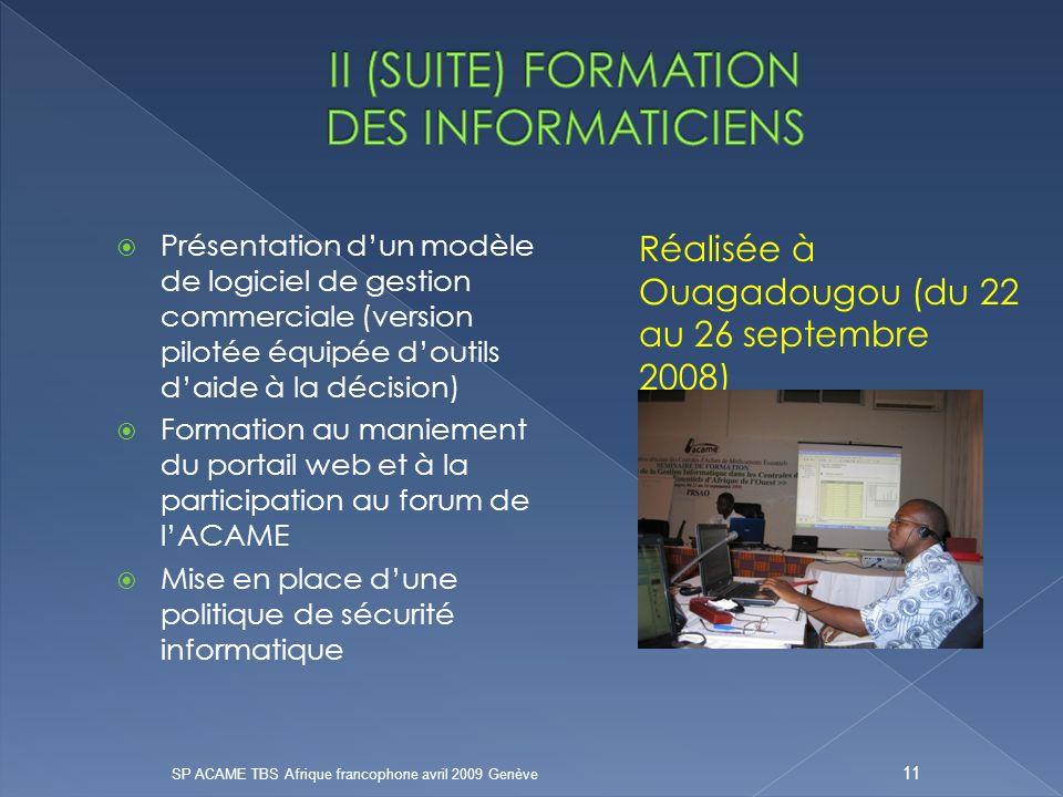 Présentation dun modèle de logiciel de gestion commerciale (version pilotée équipée doutils daide à la décision) Formation au maniement du portail web et à la participation au forum de lACAME Mise en place dune politique de sécurité informatique Réalisée à Ouagadougou (du 22 au 26 septembre 2008) SP ACAME TBS Afrique francophone avril 2009 Genève 11