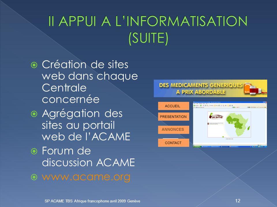 Création de sites web dans chaque Centrale concernée Agrégation des sites au portail web de lACAME Forum de discussion ACAME www.acame.org SP ACAME TBS Afrique francophone avril 2009 Genève 12