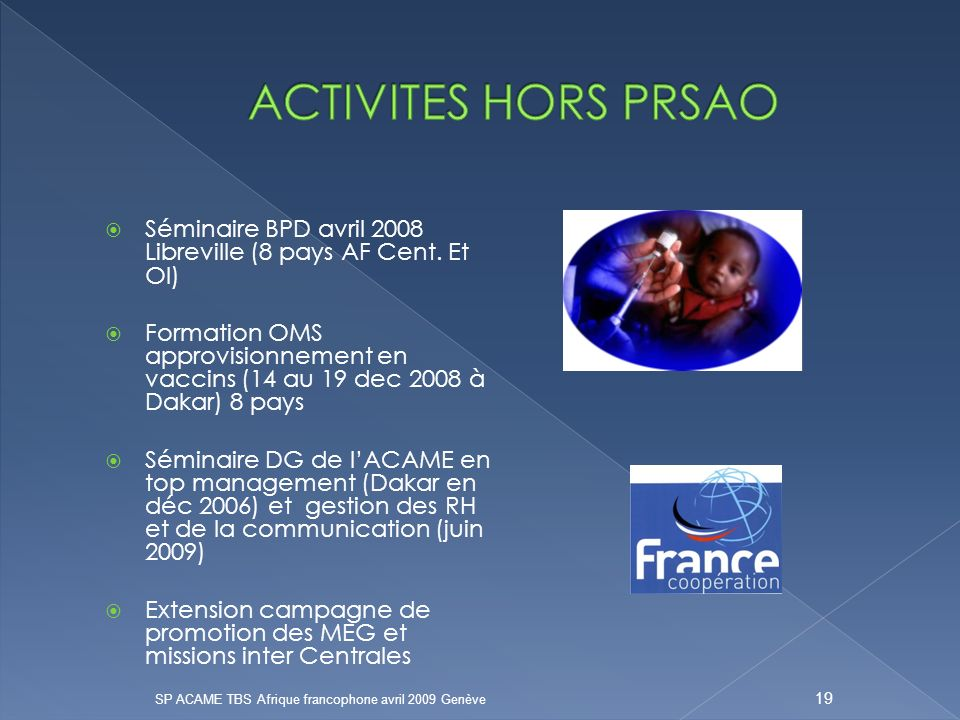 Séminaire BPD avril 2008 Libreville (8 pays AF Cent.