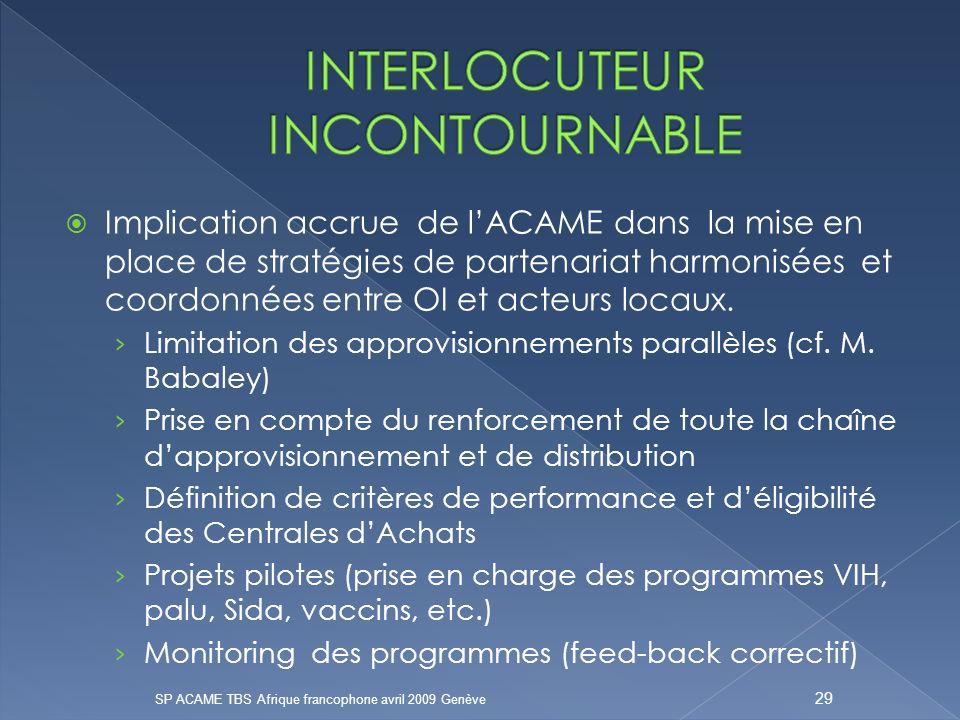 Implication accrue de lACAME dans la mise en place de stratégies de partenariat harmonisées et coordonnées entre OI et acteurs locaux.