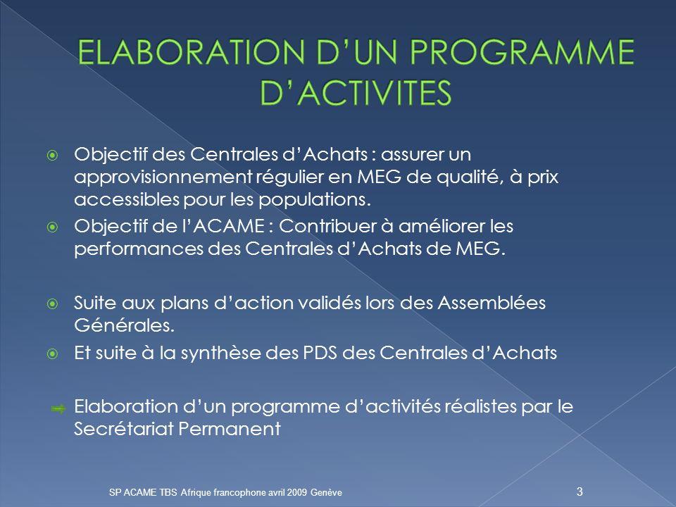 Objectif des Centrales dAchats : assurer un approvisionnement régulier en MEG de qualité, à prix accessibles pour les populations.