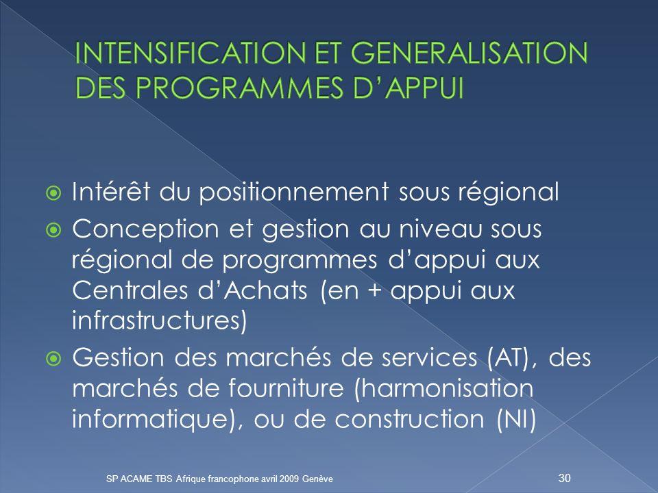 Intérêt du positionnement sous régional Conception et gestion au niveau sous régional de programmes dappui aux Centrales dAchats (en + appui aux infrastructures) Gestion des marchés de services (AT), des marchés de fourniture (harmonisation informatique), ou de construction (NI) SP ACAME TBS Afrique francophone avril 2009 Genève 30