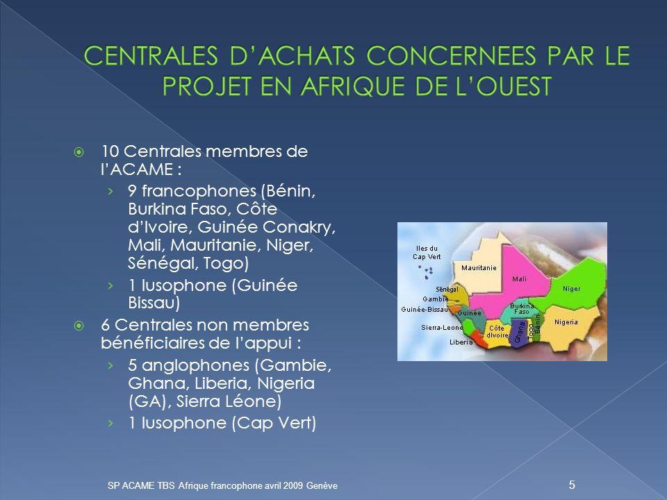 10 Centrales membres de lACAME : 9 francophones (Bénin, Burkina Faso, Côte dIvoire, Guinée Conakry, Mali, Mauritanie, Niger, Sénégal, Togo) 1 lusophone (Guinée Bissau) 6 Centrales non membres bénéficiaires de lappui : 5 anglophones (Gambie, Ghana, Liberia, Nigeria (GA), Sierra Léone) 1 lusophone (Cap Vert) SP ACAME TBS Afrique francophone avril 2009 Genève 5