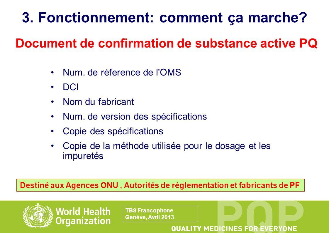 Num. de réference de l'OMS DCI Nom du fabricant Num. de version des spécifications Copie des spécifications Copie de la méthode utilisée pour le dosag