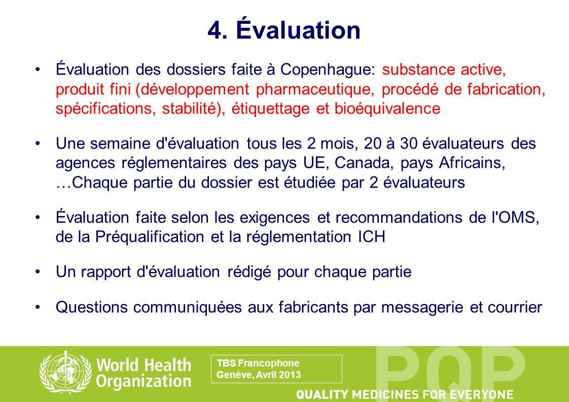 4. Évaluation Évaluation des dossiers faite à Copenhague: substance active, produit fini (développement pharmaceutique, procédé de fabrication, spécif