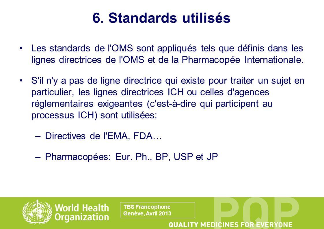 6. Standards utilisés Les standards de l'OMS sont appliqués tels que définis dans les lignes directrices de l'OMS et de la Pharmacopée Internationale.