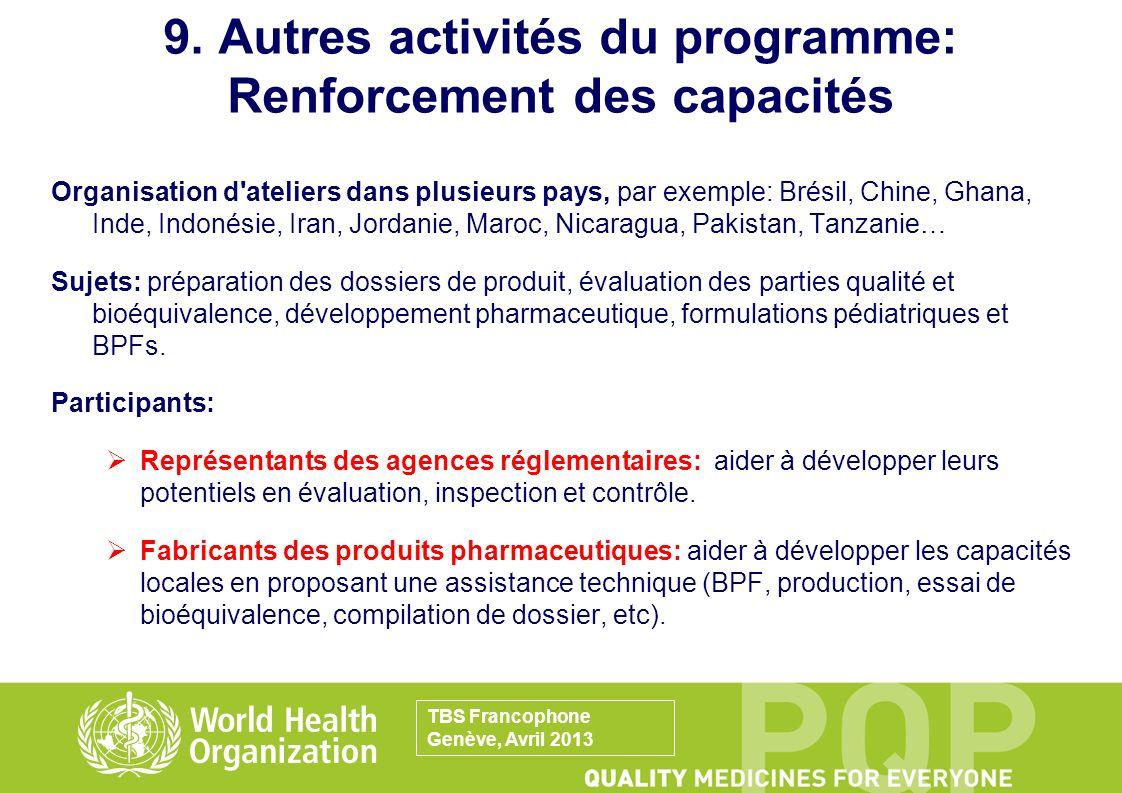 9. Autres activités du programme: Renforcement des capacités Organisation d'ateliers dans plusieurs pays, par exemple: Brésil, Chine, Ghana, Inde, Ind