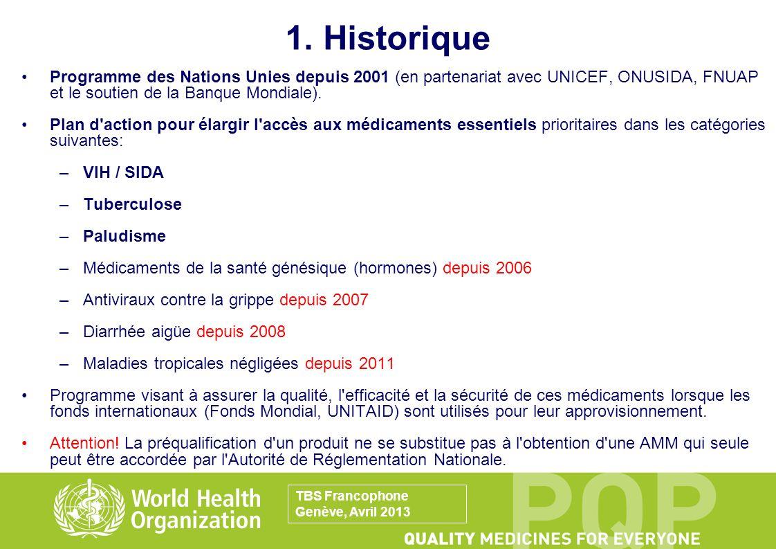 1. Historique Programme des Nations Unies depuis 2001 (en partenariat avec UNICEF, ONUSIDA, FNUAP et le soutien de la Banque Mondiale). Plan d'action