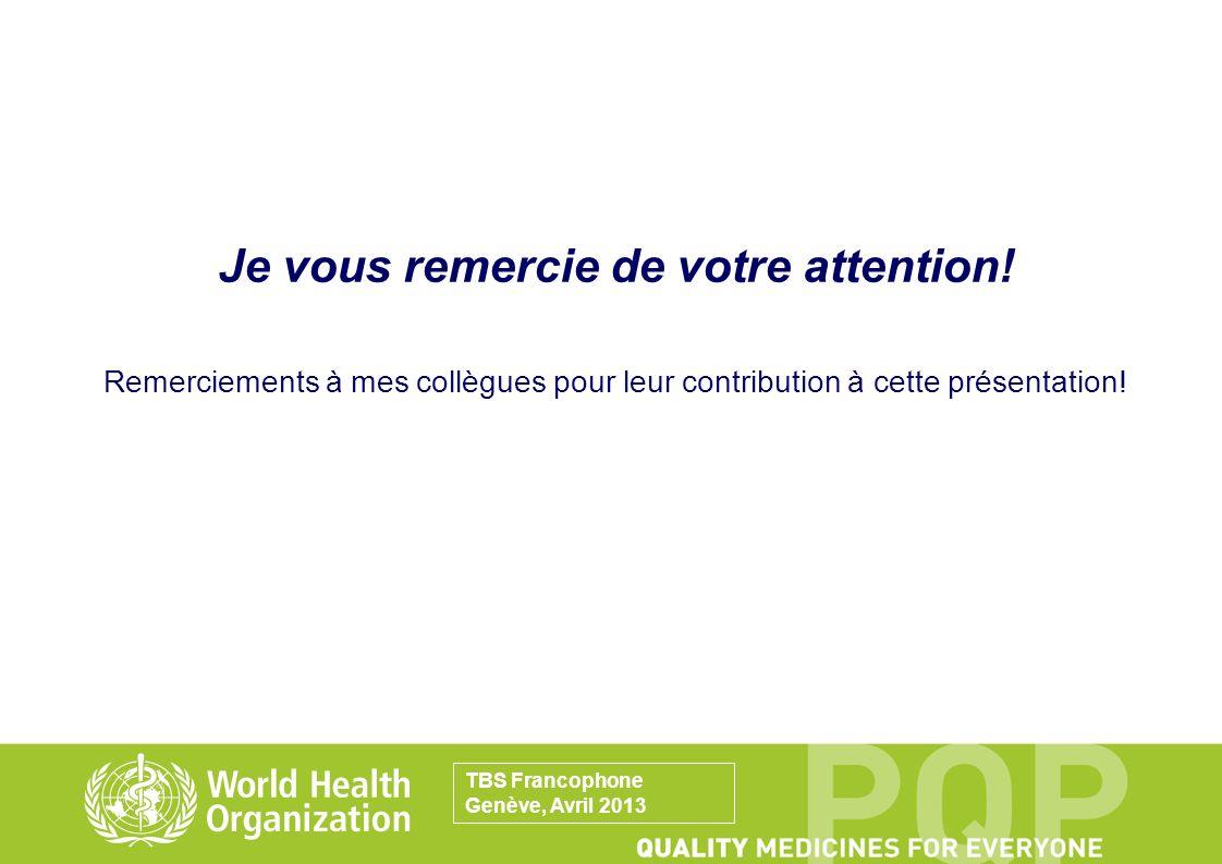 Je vous remercie de votre attention! Remerciements à mes collègues pour leur contribution à cette présentation! TBS Francophone Genève, Avril 2013