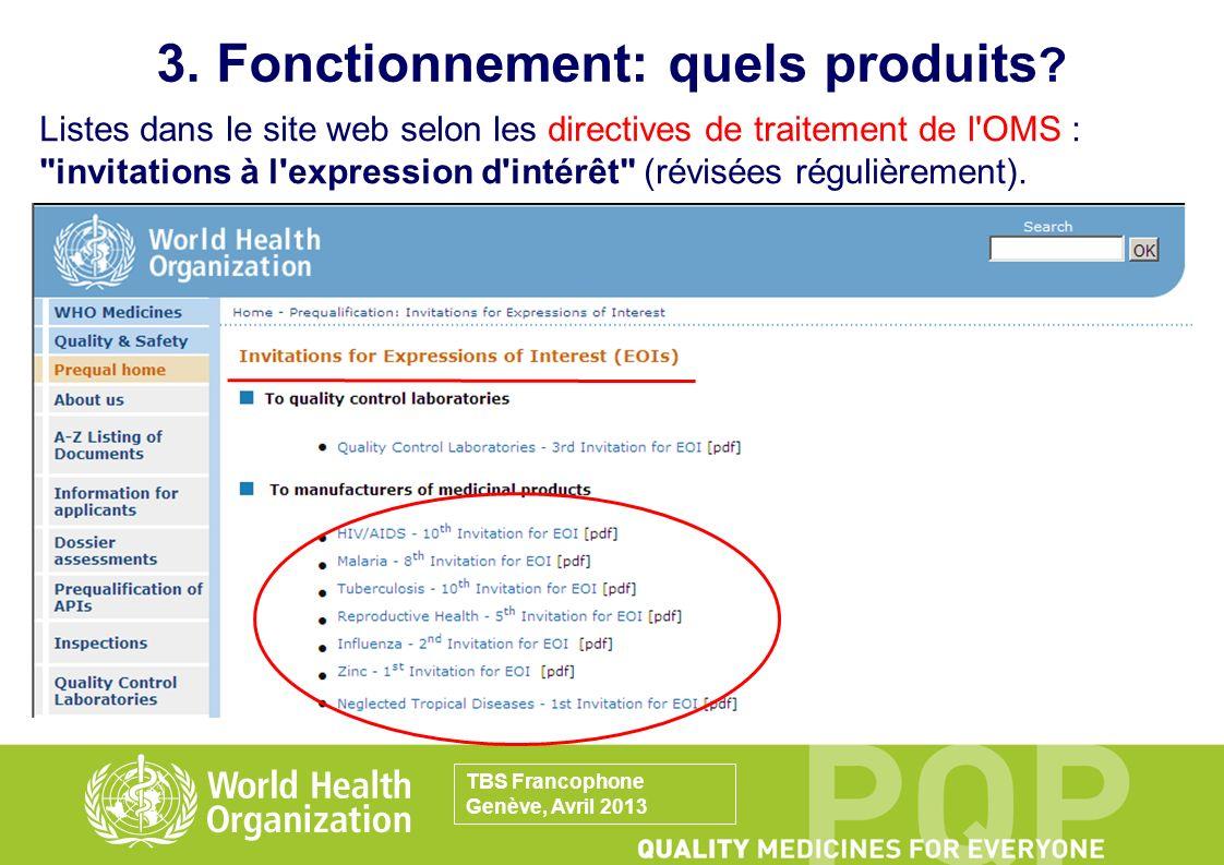 3. Fonctionnement: quels produits ? Listes dans le site web selon les directives de traitement de l'OMS :