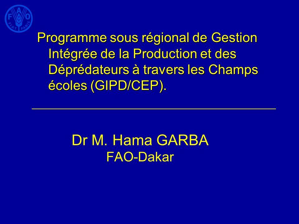 Deux principaux projets : GIPD/CEP: Benin, Burkina Faso, Mali et Sénégal GEF : Réduction de la dépendance en POPs et autres produits agrochimiques dans la vallée du fleuve Sénégal et Niger: inclut en plus Mauritanie, Niger, Guinée 130 000 producteurs dans les 7 pays pour 4 ans