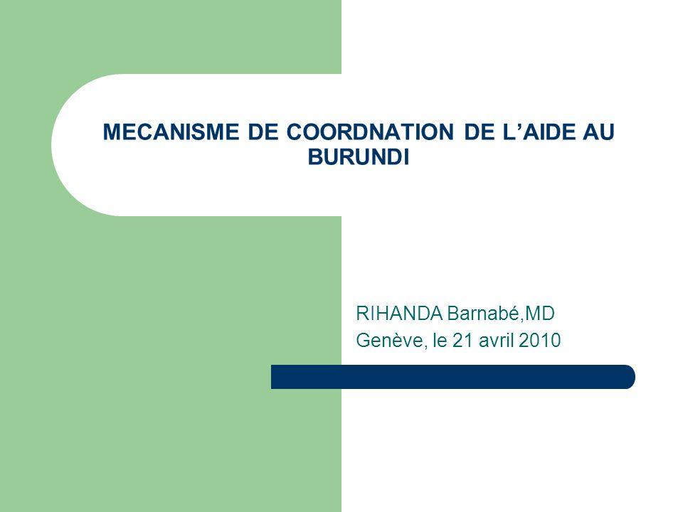 MECANISME DE COORDNATION DE LAIDE AU BURUNDI RIHANDA Barnabé,MD Genève, le 21 avril 2010