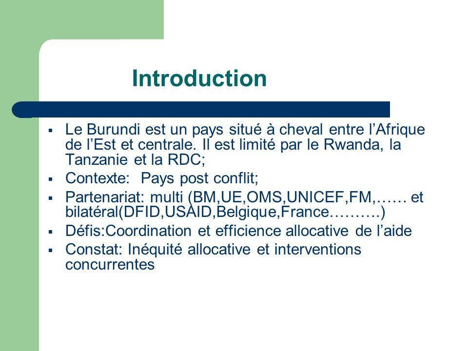 Introduction Le Burundi est un pays situé à cheval entre lAfrique de lEst et centrale. Il est limité par le Rwanda, la Tanzanie et la RDC; Contexte: P