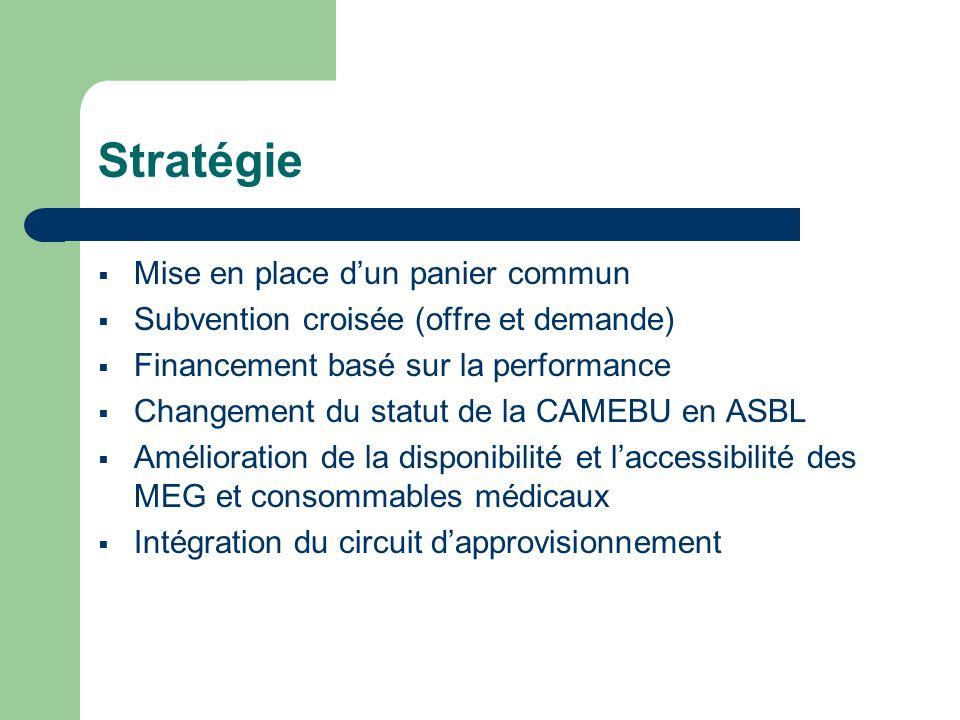 Stratégie Mise en place dun panier commun Subvention croisée (offre et demande) Financement basé sur la performance Changement du statut de la CAMEBU