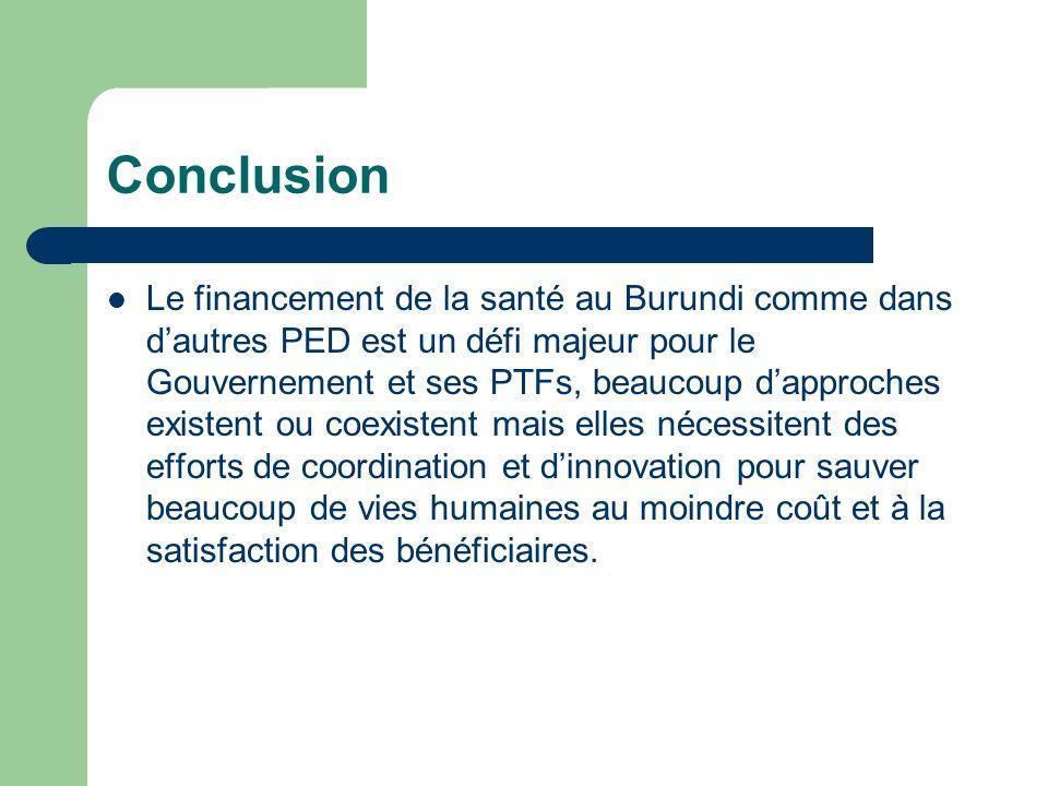 Conclusion Le financement de la santé au Burundi comme dans dautres PED est un défi majeur pour le Gouvernement et ses PTFs, beaucoup dapproches exist