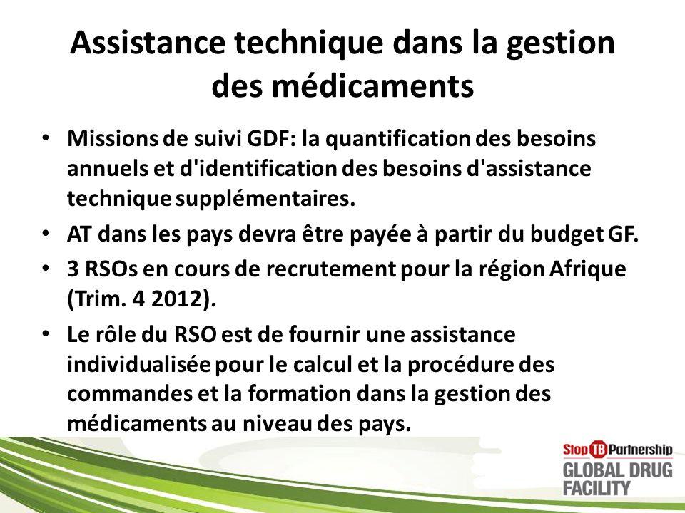 Assistance technique dans la gestion des médicaments Missions de suivi GDF: la quantification des besoins annuels et d identification des besoins d assistance technique supplémentaires.