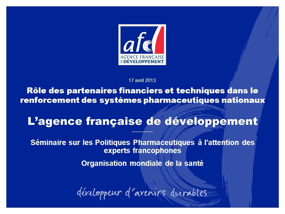 2 LAFD, fer de lance de la coopération française Laide publique au développement (APD) française sest élevée en 2011 à 9345 M soit 0,46% du RNB (0,50% en 2010) LAFD représente 31% de lAPD française, en très forte augmentation : elle représentait moins de 5% en 2003 Aujourdhui, lAFD représente les deux tiers de lAPD bilatérale française LAFD est désormais une des principales institutions de développement, de taille analogue aux banques de développement régionales Au-delà des financements, lAFD est reconnue pour sa présence sur le terrain, sa capacité à mobiliser lexpertise française et ses réseaux de partenaires, ainsi que sa contribution aux grands débats internationaux sur laide