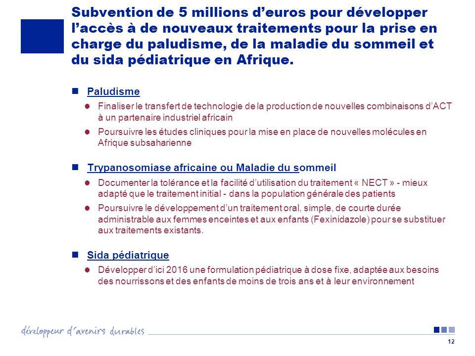 12 Subvention de 5 millions deuros pour développer laccès à de nouveaux traitements pour la prise en charge du paludisme, de la maladie du sommeil et