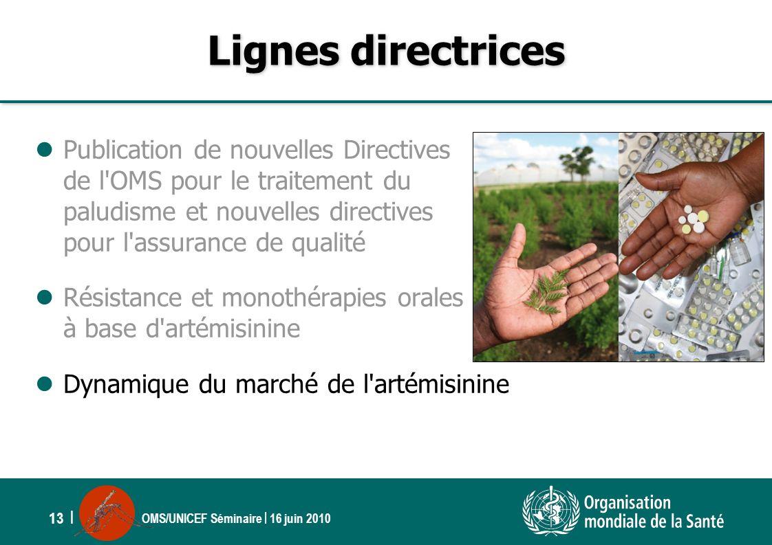 OMS/UNICEF Séminaire | 16 juin 2010 13 | Lignes directrices Publication de nouvelles Directives de l'OMS pour le traitement du paludisme et nouvelles