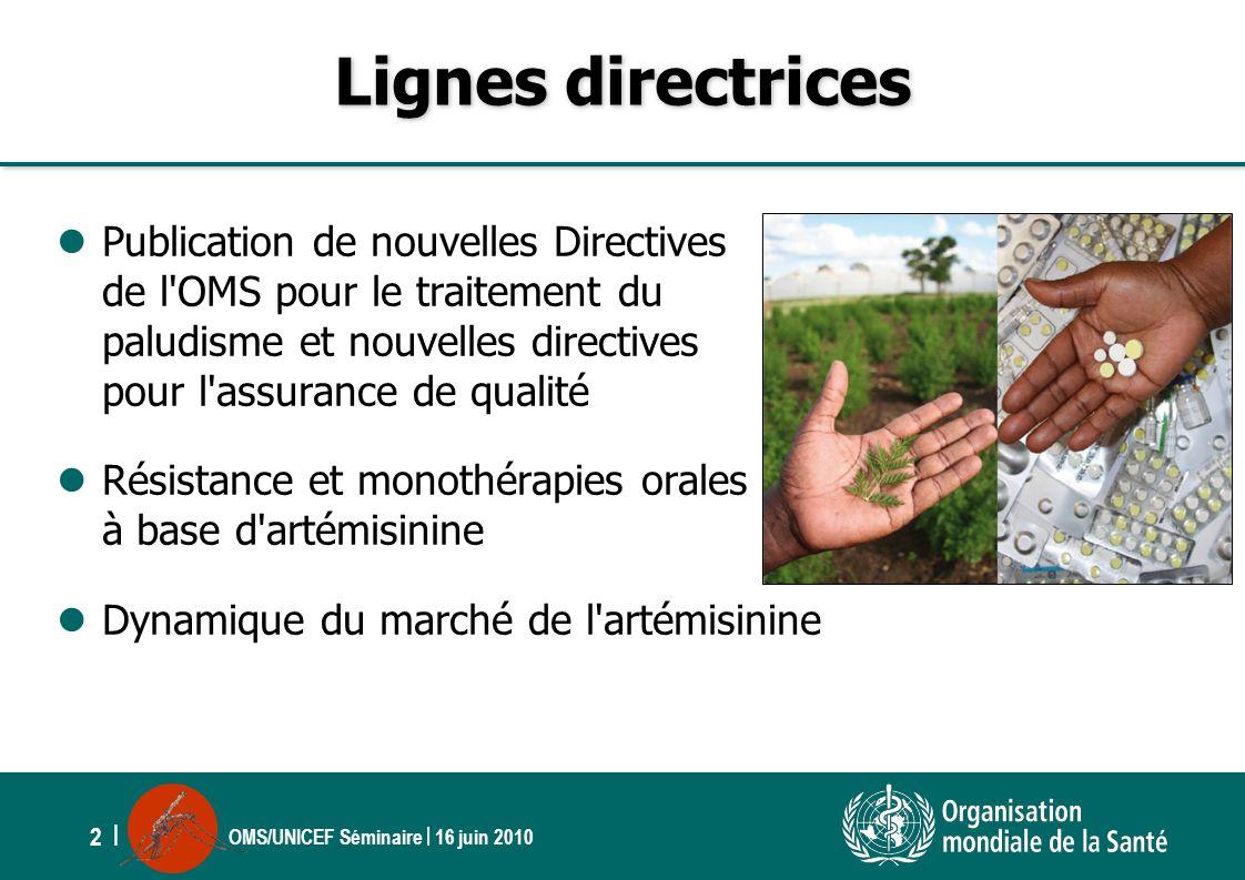 OMS/UNICEF Séminaire | 16 juin 2010 2 | Lignes directrices Publication de nouvelles Directives de l'OMS pour le traitement du paludisme et nouvelles d