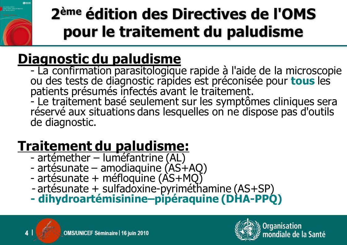OMS/UNICEF Séminaire | 16 juin 2010 4 | 2 ème édition des Directives de l'OMS pour le traitement du paludisme Diagnostic du paludisme - La confirmatio