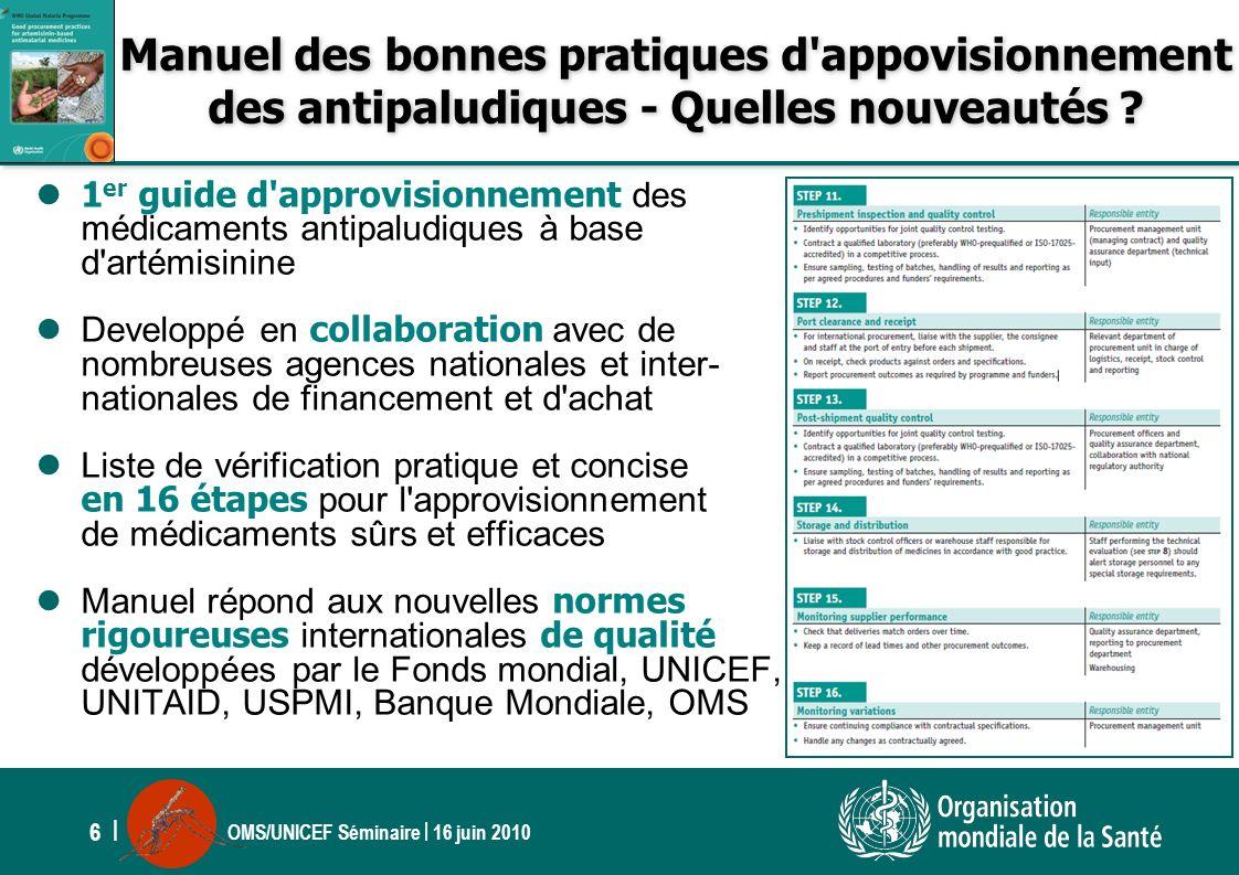 OMS/UNICEF Séminaire | 16 juin 2010 6 | Manuel des bonnes pratiques d'appovisionnement des antipaludiques - Quelles nouveautés ? 1 er guide d'approvis