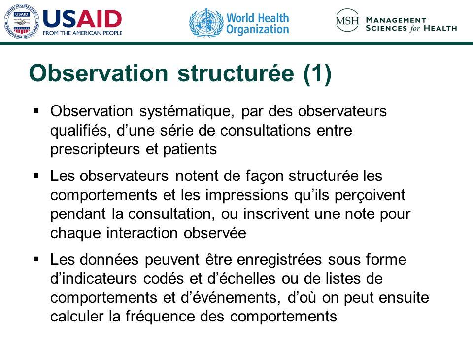 Observation structurée (1) Observation systématique, par des observateurs qualifiés, dune série de consultations entre prescripteurs et patients Les o