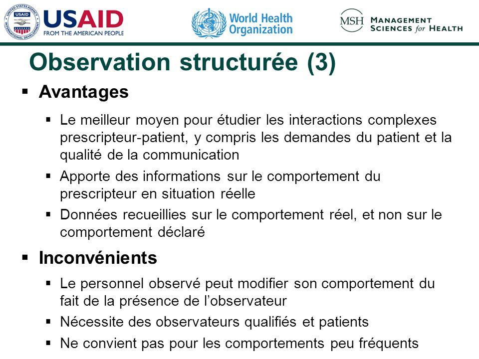 Observation structurée (3) Avantages Le meilleur moyen pour étudier les interactions complexes prescripteur-patient, y compris les demandes du patient