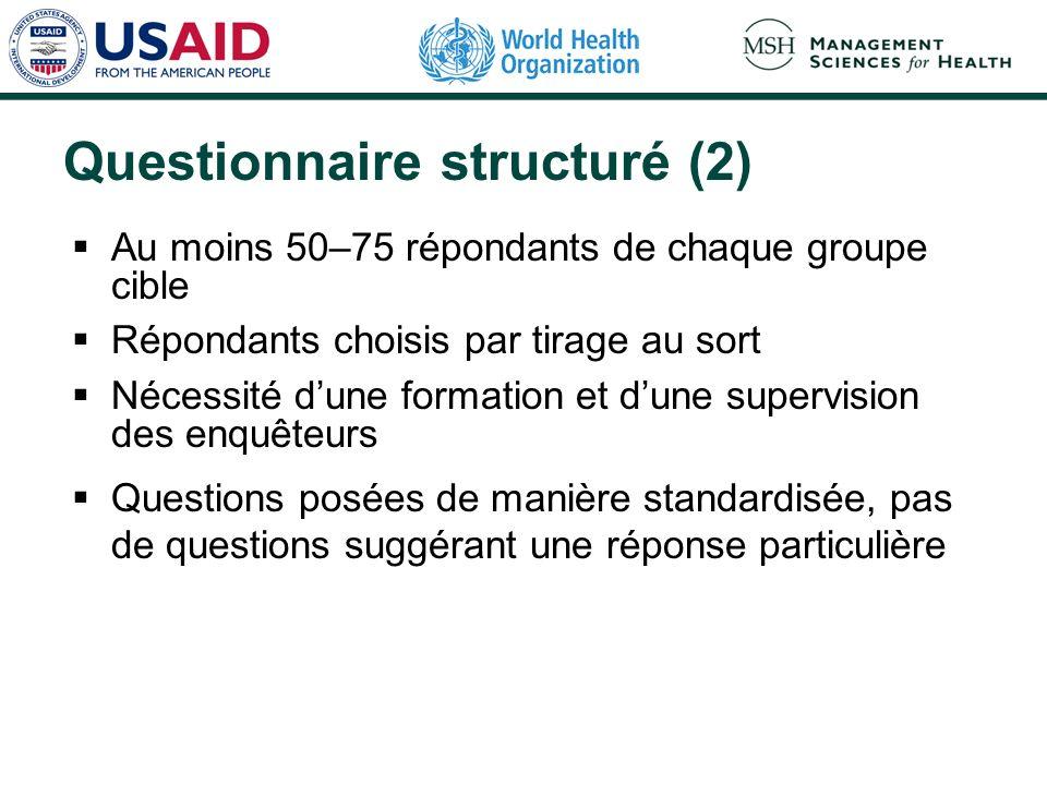 Questionnaire structuré (2) Au moins 50–75 répondants de chaque groupe cible Répondants choisis par tirage au sort Nécessité dune formation et dune su