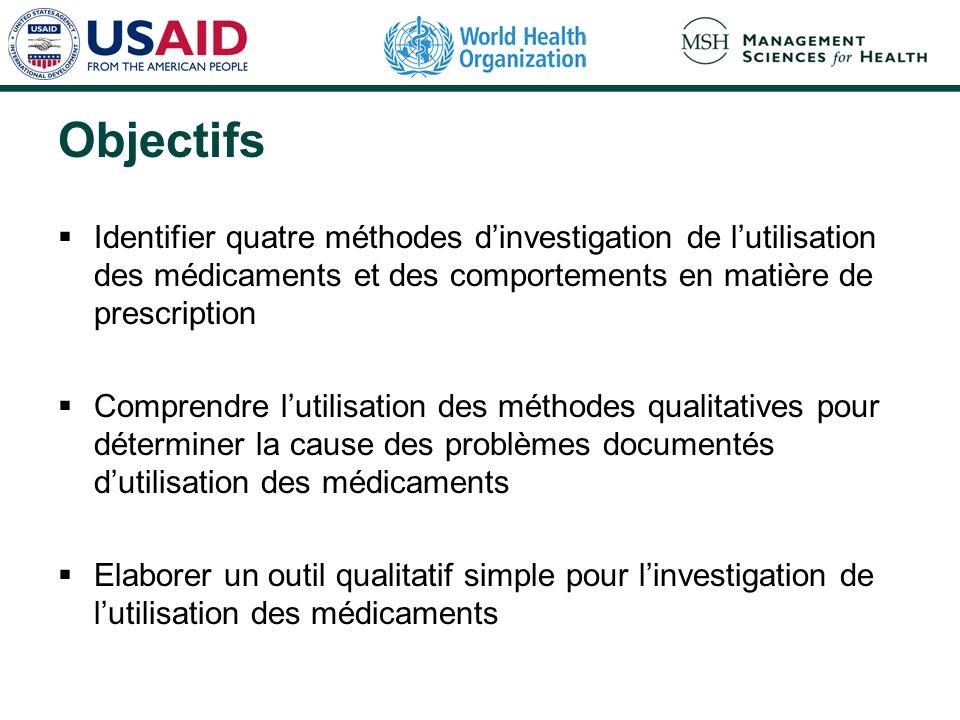 Objectifs Identifier quatre méthodes dinvestigation de lutilisation des médicaments et des comportements en matière de prescription Comprendre lutilis