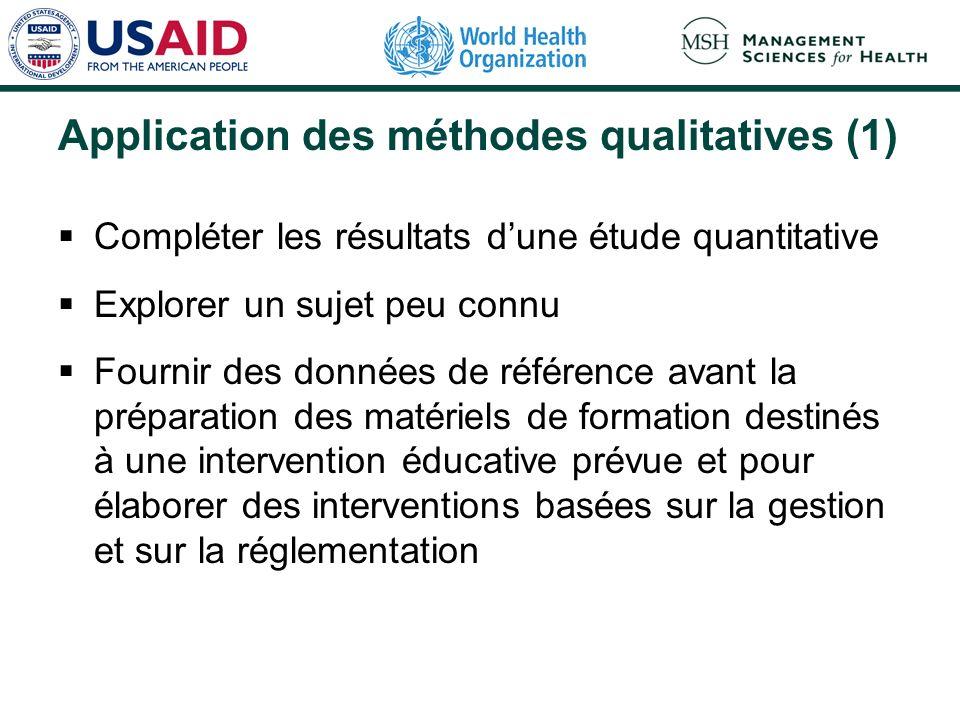 Application des méthodes qualitatives (2) Exemple dutilisation des méthodes qualitatives La prescription selon les noms de spécialités était très en faveur dans un hôpital de district.