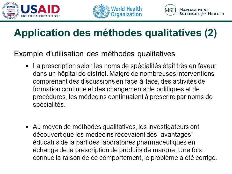 Application des méthodes qualitatives (2) Exemple dutilisation des méthodes qualitatives La prescription selon les noms de spécialités était très en f