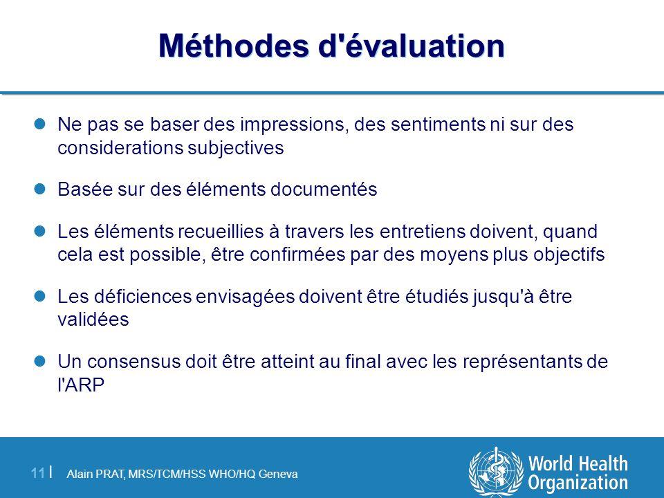 Alain PRAT, MRS/TCM/HSS WHO/HQ Geneva 11 | Méthodes d'évaluation Ne pas se baser des impressions, des sentiments ni sur des considerations subjectives