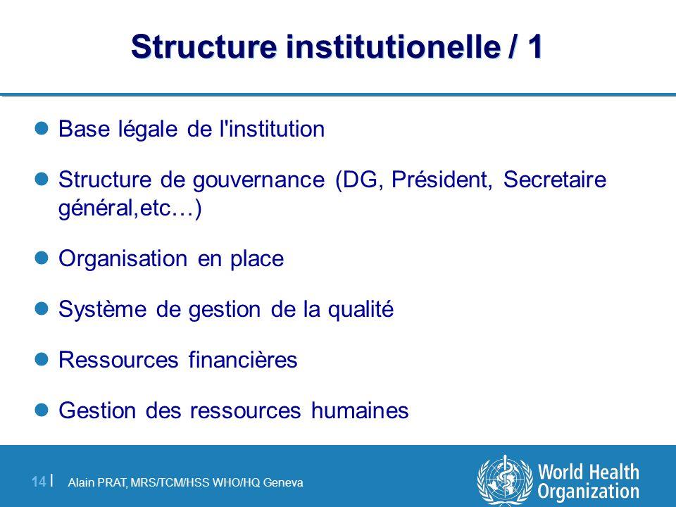 Alain PRAT, MRS/TCM/HSS WHO/HQ Geneva 14 | Structure institutionelle / 1 Base légale de l'institution Structure de gouvernance (DG, Président, Secreta